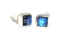 Square Rainbow Moonstone Earrings Silver Stud